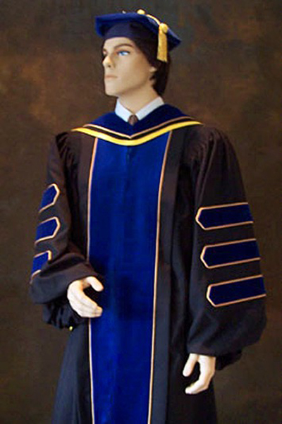 Doctoral gowns and PhD gown to go with tam and hood for academic regalia