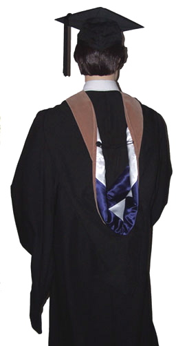 Master's degree graduation hood plus academic cap and masters gown