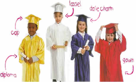kindergarten graduation cap and gowns