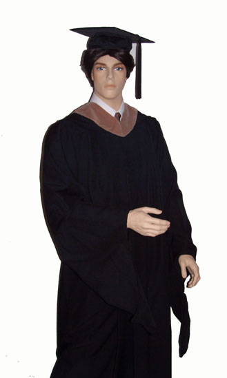 Master's degree graduation gown, plus academic cap and hood